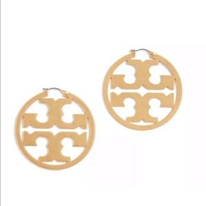 TORY BURCH Miller Circle Gold Hoop Earrings New